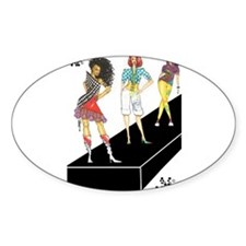 unleashed, fashion illustrate Oval Decal