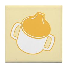 Cute Yellow Sip Cup Tile Coaster