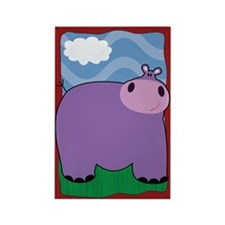 Friendly Hippopotomus Rectangle Magnet