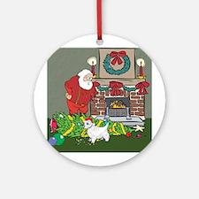 Santa's Helper Westie Ornament (Round)