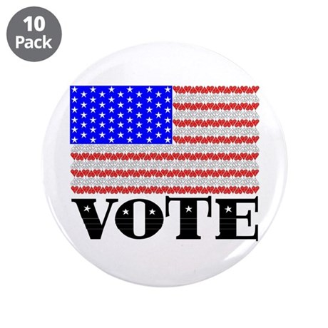 "Vote American Flag 2 3.5"" Button (10 pack)"