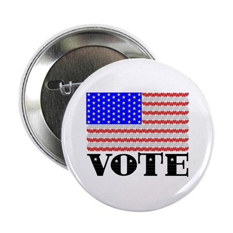"Vote American Flag 2 2.25"" Button"
