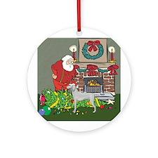 Santa's Helper Weimaraner Ornament (Round)