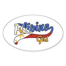 Filipino Girl Oval Decal