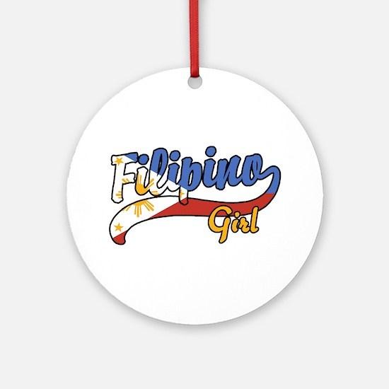 Filipino Girl Ornament (Round)