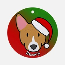Cartoon Basenji Christmas Ornament