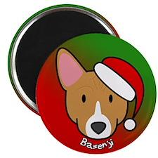Cartoon Basenji Christmas Magnet