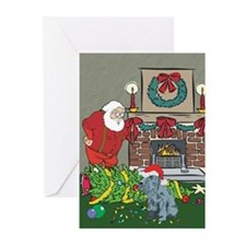 Santa's Helper Schnauzer Greeting Cards (Pk of 20)