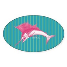Pink Sailfish Striped Oval Decal