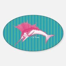 Pink Sailfish Striped Oval Decal
