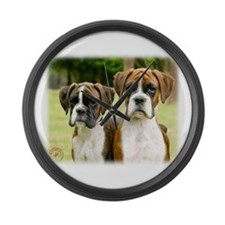 Boxer puppies 9Y049D-064 Large Wall Clock