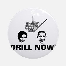 Drill Now Republican Oil Ornament (Round)