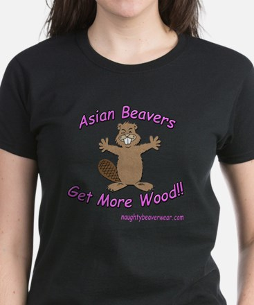 Asian Beavers Get More Wood!! Women's Dark T-Shirt