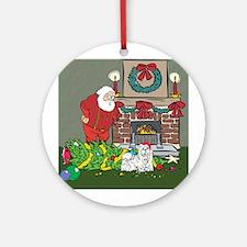 Santa's Helper Maltese Ornament (Round)