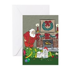Santa's Helper Maltese Greeting Cards (Pk of 10)