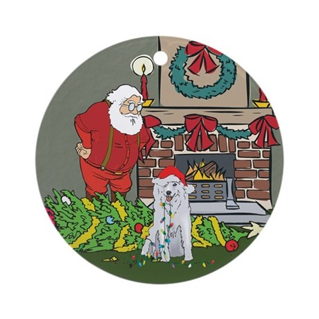 Santa's Helper Husky Ornament (Round)