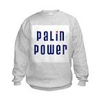Palin Power blue font Kids Sweatshirt