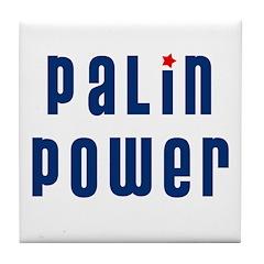 Palin Power blue font Tile Coaster
