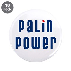 "Palin Power blue font 3.5"" Button (10 pack)"