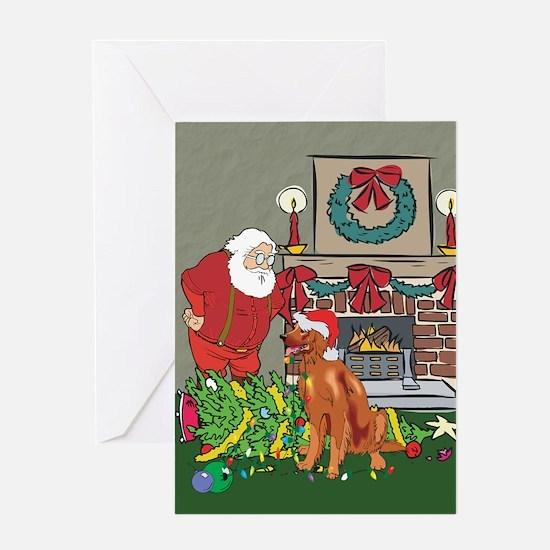 Santa's Helper Irish Setter Greeting Card
