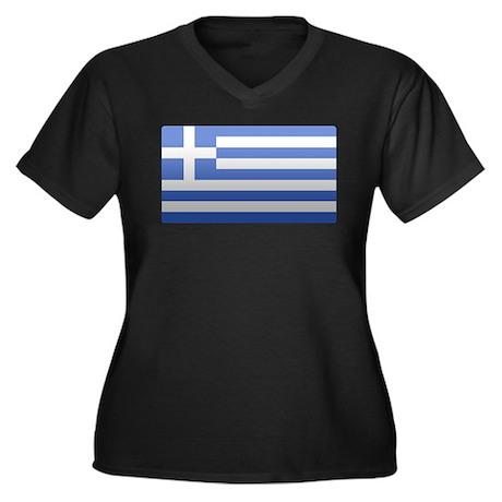Greek Flag Women's Plus Size V-Neck Dark T-Shirt