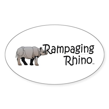 Rampaging Rhino Sticker (Oval)