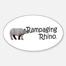 Rampaging Rhino Sticker (Oval)