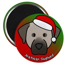 Cartoon Anatolian Shepherd Christmas Magnet