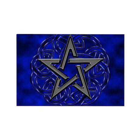 Black and Blue Celtic Knot Pentagram Rectangle Mag by ...