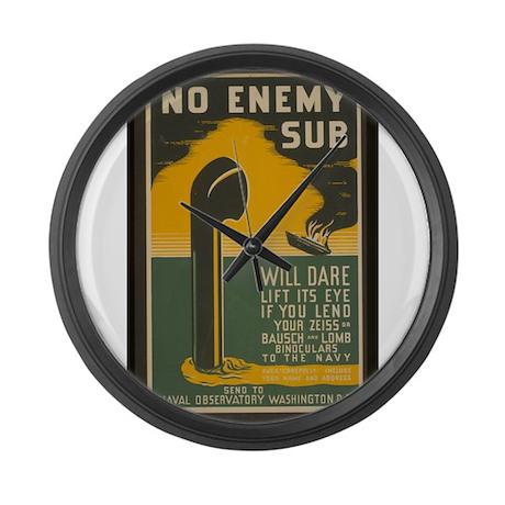 No Enemy Sub Large Wall Clock
