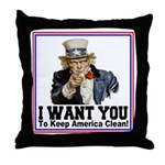 To Keep America Clean Throw Pillow