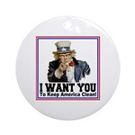 To Keep America Clean Ornament (Round)