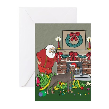 Santa's Helper Doberman Greeting Cards (Pk of 10)