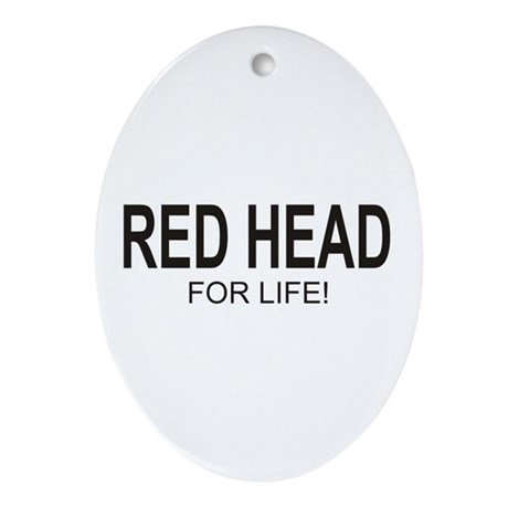 Red Head For Life Oval Ornament