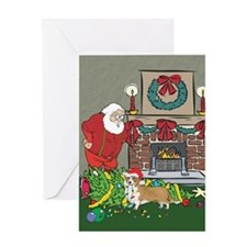 Santa's Helper Welsh Corgi Greeting Card