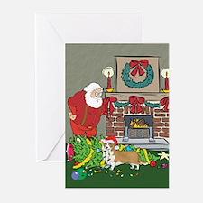 Santa's Helper Welsh Corgi Greeting Cards (Pk of 2