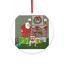 Santa's Helper Bulldog Ornament (Round)