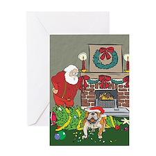 Santa's Helper Bulldog Greeting Card