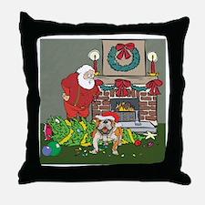 Santa's Helper Bulldog Throw Pillow