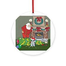 Santa's Helper Boston Terrier Ornament (Round)