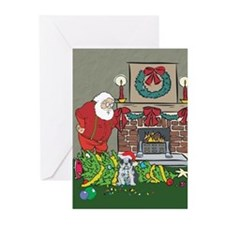 Santa's Helper Boston Terrier Greeting Cards (Pk o