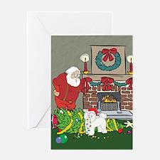 Santa's Helper Bichon Frise Greeting Card