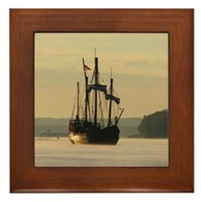 Sunrise Sailing Ship, Framed Tile