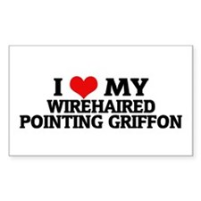 I Love My Wirehaired Pointing Sticker (Rectangular