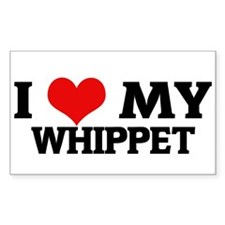 I Love My Whippet Rectangle Decal