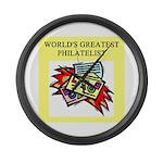 philatelist gifts t-shirts Large Wall Clock