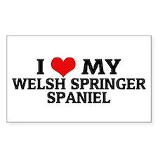 I Love My Welsh Springer Span Sticker (Rectangular
