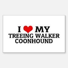I Love My Treeing Walker Coon Sticker (Rectangular
