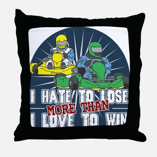 Hate to Lose Go Kart Throw Pillow