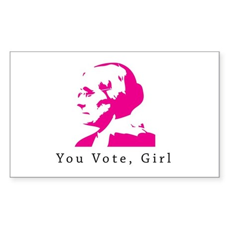 Susan B Anthony You Vote,Girl Rectangle Sticker